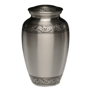 brushed pewter urn with hand engraved design 300x300